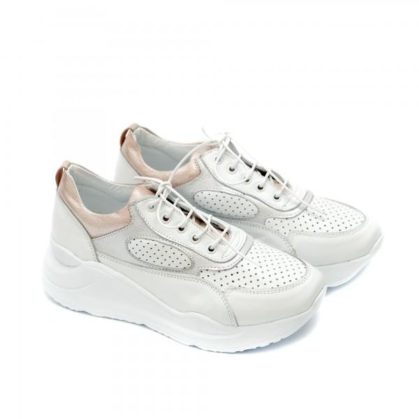 Дамски маратонки от естествена кожа в бяло и розово с връзки-1177