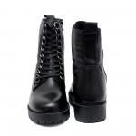 Черни дамски бoти от естествена кожа  с връзки и цип-903