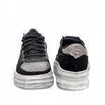Черни дамски кецове от естествена кожа+сребристи елементи-919