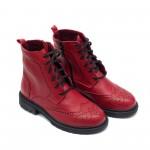 Червени есенни кубинки от естествена кожа с ефектен дизайн-912
