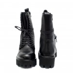 Черни зимни боти от естествена кожа с връзки и цип-909