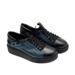 Удобни кецове от естествена кожа черни с метално син акцент-916