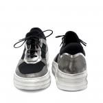 Дамски кецове от естествена кожа черни+сребро и сатен-920