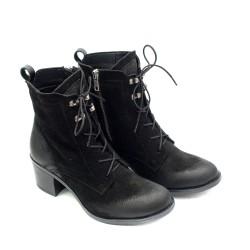 Черни дамски боти от естествен велур на ток-900