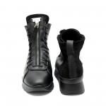 Ежедневни дамски боти от естествена кожа и велур черни с ниска платформа-623
