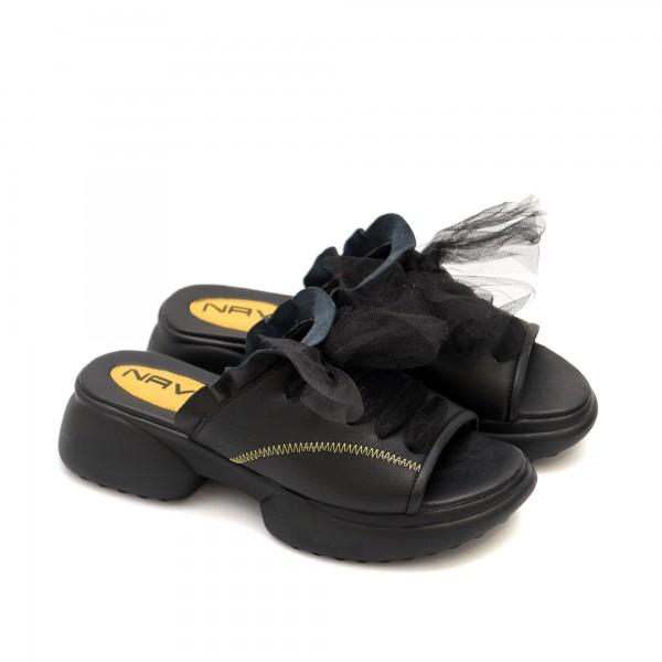 Дамски чехли от естествена кожа с тюл и модерна визия-1295