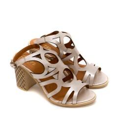 Дамски сандали от естествена кожа пудра с лазерно изрязване-1294
