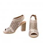 Дамски сандали от естествена кожа пудра с висок ток-1298
