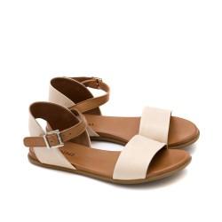 Дамски сандали от естествена кожа в бежово и таба-1297