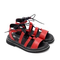 Червени дамски сандали на равно ходило от естествена кожа-1305