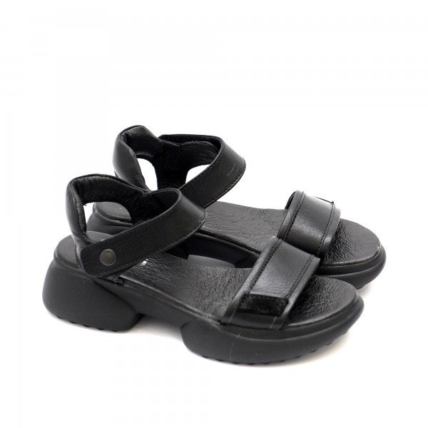 Дамски сандали от естествена кожа черни със спортно ходило с велкро-1308