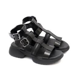 Дамски римски сандали от естествена кожа с ефектно закопчаване в черно-1307