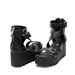 Черни дамски сандали на платформа от естествена кожа-1311