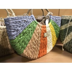 Кокетна дамска плетена чанта с кръгли дръжки в комбинация от много цветове-1699