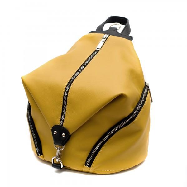 Дамска раница от еко кожа в комбинация от жълто и черно-151