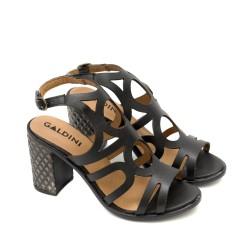 Дамски черни сандали на висок ток от естествена кожа-4016