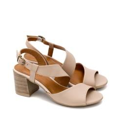 Дамски елегантни сандали от естествена кожа в цвят пудра на удобен широк ток-1677