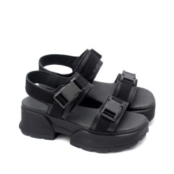 Стилни дамски сандали от естествена кожа в класически черен цвят на модерно ходило-1688