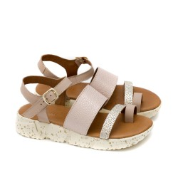 Дамски сандали от естествена кожа в комбинация от цвят пудра и златно на бежово напръскано ходило-1339