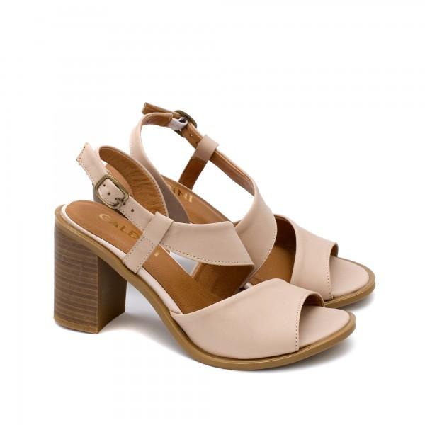 Елегантни дамски сандали от естествена кожа в цвят пудра на висок устойчив ток-1691