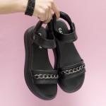 Модерни дамски сандали от естествена кожа в класически черен цвят-1693