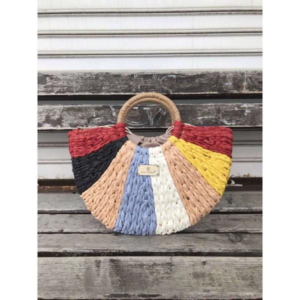 Многоцветна дамска плетена чанта в свежи цветове и кръгли дръжки-1699