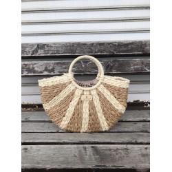 Дамска чанта тип плетен кош с кръгли дръжки в комбинация от бежово и кафяво-1699