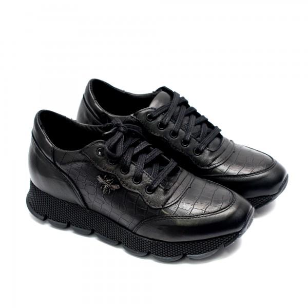 Дамски спортни обувки с връзки в комбинация от естествена черна кожа и кроко-605