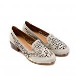 Дамски летни обувки на ток от естествена кожа сиво-бежови с перфорация-739
