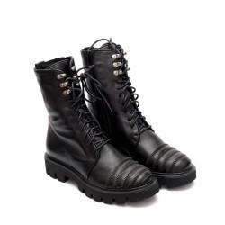 Черни дамски ежедневни боти от естествена кожа с връзки и цип-307