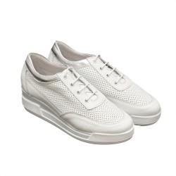 Дамски пролетни обувки естествена кожа в бяло и сребристо-753