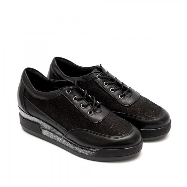 Пролетни дамски обувки от естествена кожа черни-754