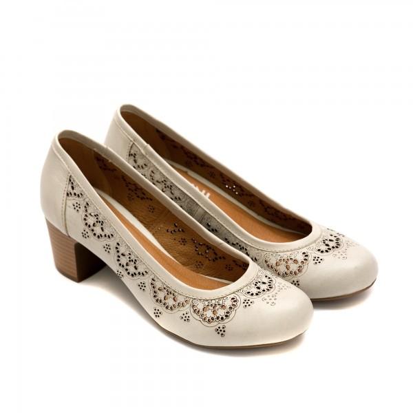 Дамски летни обувки на ток от естествена кожа в сив цвят с лазерна перфорация-22