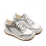 Дамски спортни обувки с връзки от естествена кожа в бяло и сребристо-767