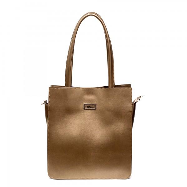 Дамска ежедневна чанта от гладка еко кожа в златисто-687
