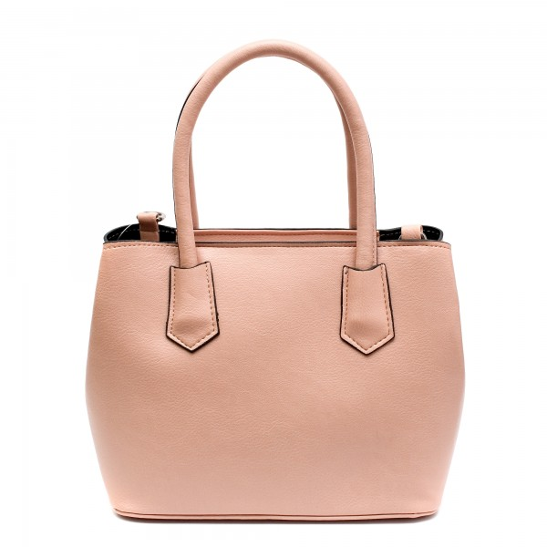 Дамска елегантна чанта в цвят пудра от еко кожа-761