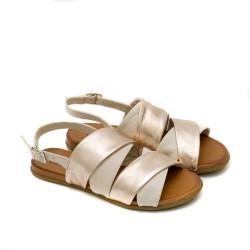 Дамски сандали от естествена кожа в свежа комбинация бежово и златно-1265