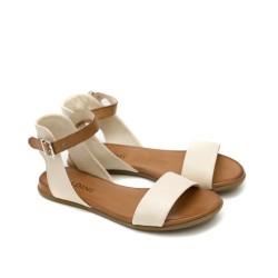 Дамски сандали от естествена кожа в бежово и таба с катарама-1263
