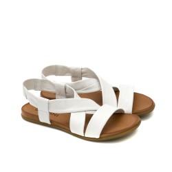 Равни дамски сандали от естествена кожа в бял цвят с ластик-1262
