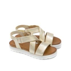 Дамски сандали от естествена кожа в златно с бяло ходило-1272