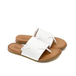 Дамски сандали от естествена кожа в бял цвят с ластик-1261