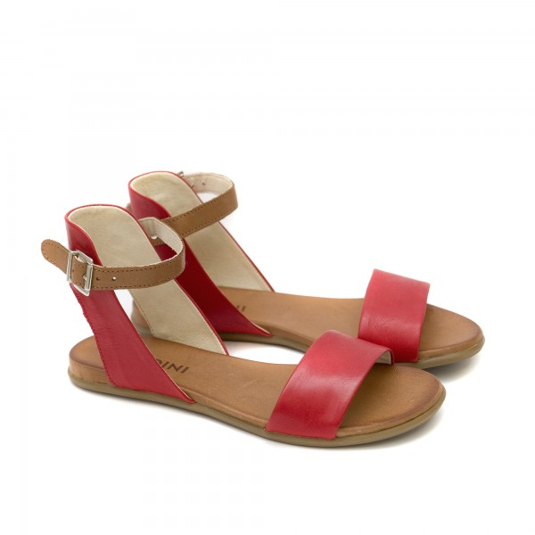 Дамски червени ежедневни сандали от естествена кожа с ефектно закопчаване-1259