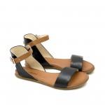 Черни дамски сандали от естествена кожа с високо закопчаване-1257