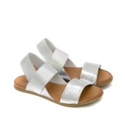 Дамски сиви сандали от естествена кожа с ластик на равно ходило-1275