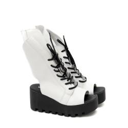 Дамски сандали от естествена кожа в бяло с връзки и цип с модерен дизайн-1276