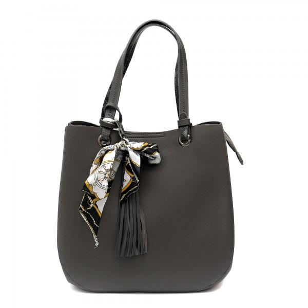 Дамска чанта в сив цвят с змийски елементи-1166
