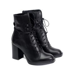 Дамски елегантни черни боти от естествена кожа с връзки и висок ток-1070