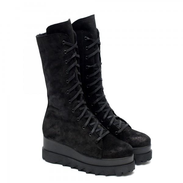 Черни дамски ботуши от естествен велур с дебело грайферно ходило с връзки и цип-1069