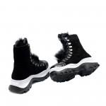 Спортнo-eлегантни черни топли дамски боти от естествен велур,пух и лак с връзки и цип-1065