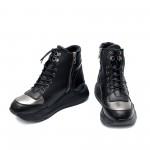 Дамски спортно-елегантни боти с ефектен дизайн в черно и платина-1067